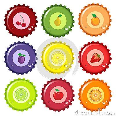 Free Fruit Juice Bottle Caps Royalty Free Stock Photos - 15012798