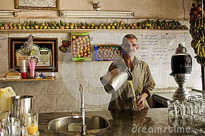 Fruit juice cafe in cairo egypt Editorial Image