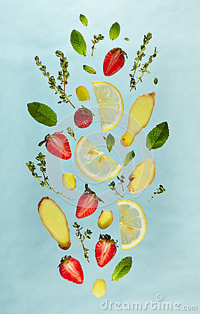 Free Fruit Lemonade Ingredient Pattern Stock Photo - 93566490