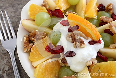 Fruit and nut salad with yogurt