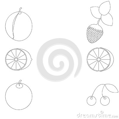 Fruit planimetric under a coloring Vector Illustration