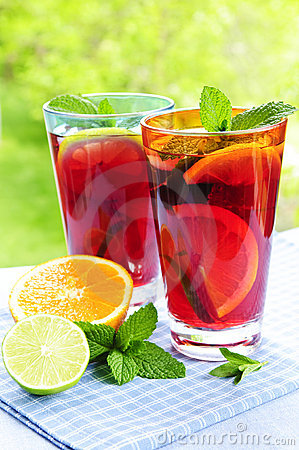 Free Fruit Punch In Glasses Stock Image - 9744641