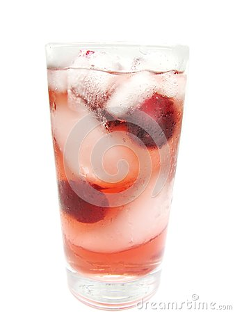 Fruit red juice with ice and cherry