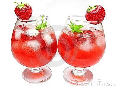 Fruit red punch cocktail drinks with strawberry