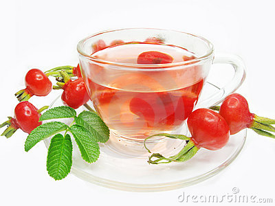 Fruit red tea with wild rose berries hip