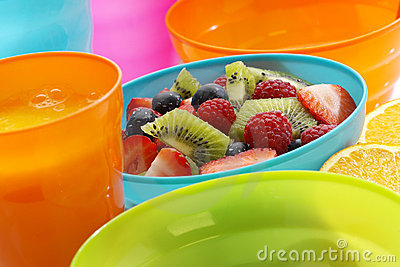 Fruit salad in blue bowl