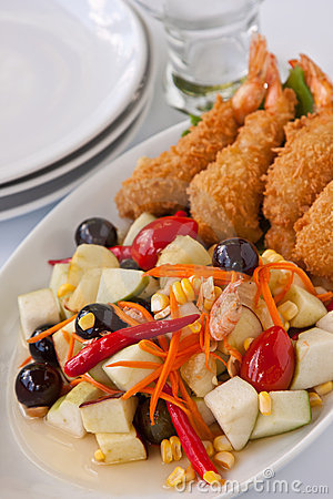 Fruit Salad with deep fried shrimp