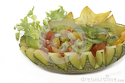 Fruit salad in the melon fruit fusion food
