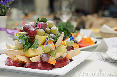 Fruit salad on a plate