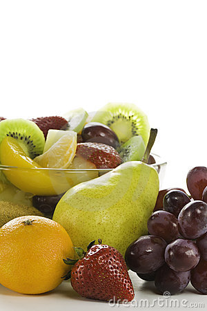 Fruit salad with space for a text.