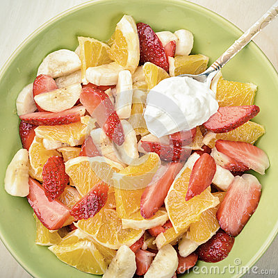 Free Fruit Salad With Sour Cream Royalty Free Stock Image - 54912646