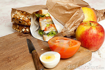 Fruit and sandwiches for lunch