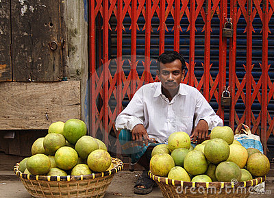 Fruit seller in Old Dhaka, Bangladesh Editorial Image