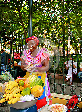 Fruit Seller, Palenquera, Cartagena, Colombia Editorial Stock Image