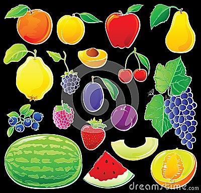 Fruit set on black