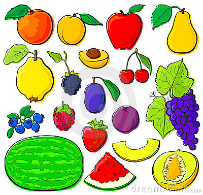Fruit set with black outlines