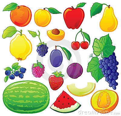Fruit set with color outlines
