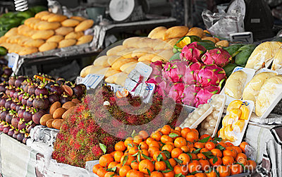 Fruit on the shelves of Thai market