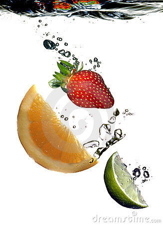 Fruit slices water