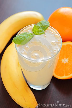 Free Fruit Smoothie With Banana And Orange Royalty Free Stock Photography - 68255437