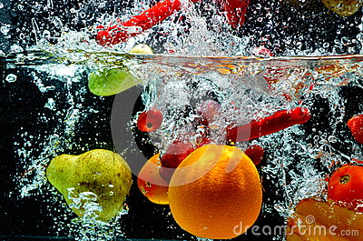 Fruit Splash On Water Stock Image - Image: 25978241