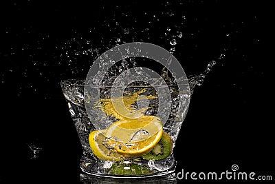 Fruit splashing in water