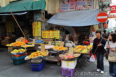 Fruit stall at Temple Street Editorial Stock Image