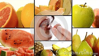 Fruit sur un collage blanc de fond
