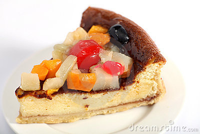 Fruit topped sponge close up