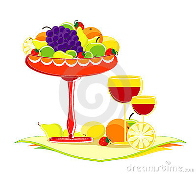 Fruit in vase with glass of wine