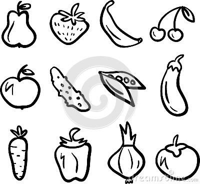 Fruit and vegetable icons set