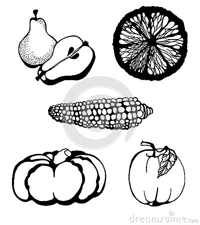 Fruit and Vegetables doodle set