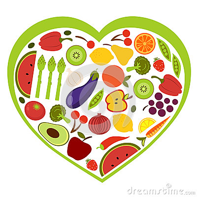 Fruit and vegetables heart shape