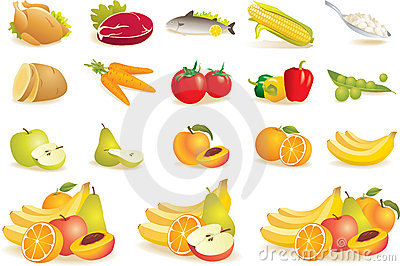 Fruit, vegetables, meat, corn icons