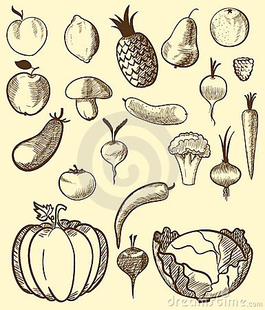 Fruit and vegetables in retro style