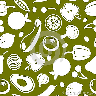 Fruit and vegetables seamless pattern