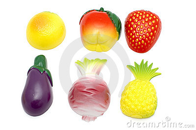 Fruit and vegetables on white