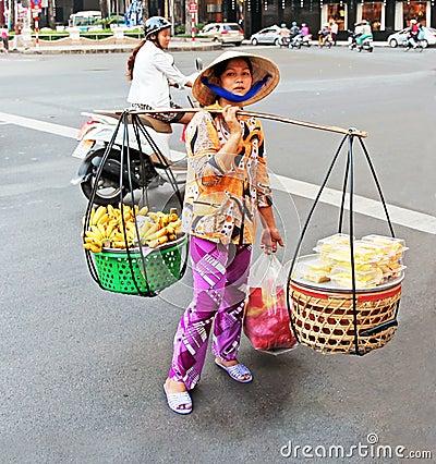 Fruit Vendor In Vietnam Editorial Photo