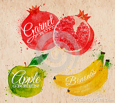 Free Fruit Watercolor Watermelon, Banana, Pomegranate, Stock Photo - 41178230