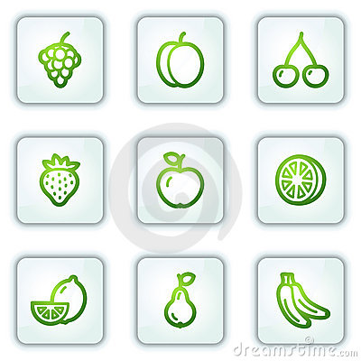 Fruit web icons, white square buttons series