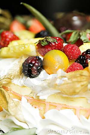 Fruit and whipped cream cake