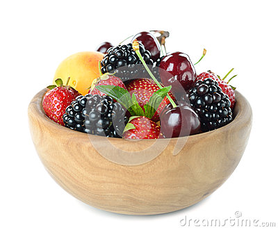 Fruit in wooden bowl