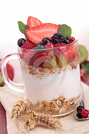 Fruit and yogurt,cereals