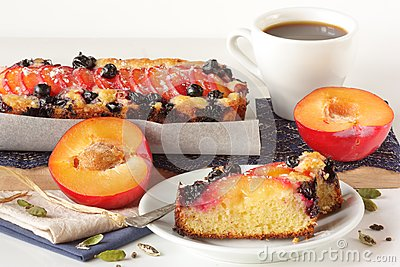 Fruitcake and cup of coffee.
