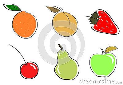 set of stylized Fruits isolated