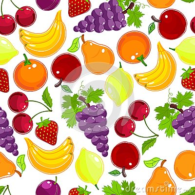 Free Fruits And Berries Seamless Pattern Royalty Free Stock Photos - 41198898