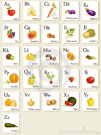 Free Fruits And Vegetables Alphabet Cards Royalty Free Stock Images - 17941239