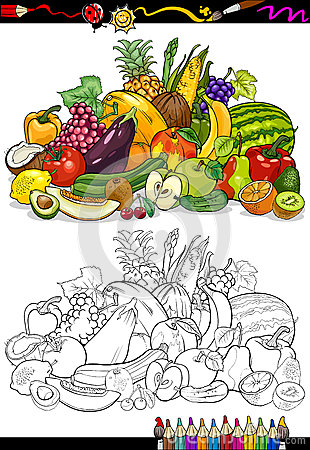 Free Fruits And Vegetables For Coloring Book Royalty Free Stock Image - 31594146