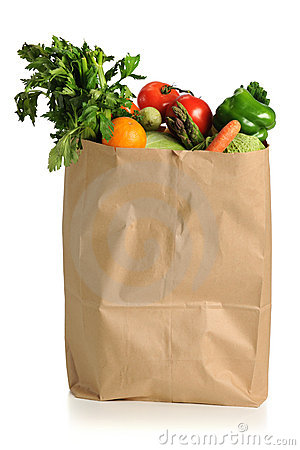 Free Fruits And Vegetables In Grocery Bag Royalty Free Stock Photography - 17656027