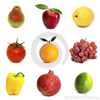 Free Fruits And Vegetables Isolated On White Background Royalty Free Stock Image - 39293626